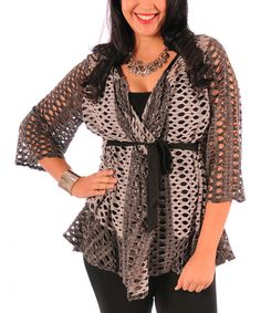 Another great find on #zulily! Gray Cutout Tie-Waist Cardigan - Plus by Lily #zulilyfinds