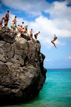 Rock Jumping, Waimea Bay  First vacay with the hubby