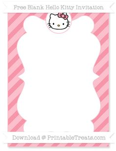 Free Pastel Pink Diagonal Striped Blank Hello Kitty Invitation