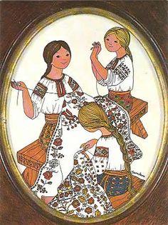 Embroidering - Yaroslava Surmach Mills She was a wonderful Ukrainian reverse glass artist