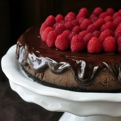Chocolate Mousse Cheesecake - a silky smooth, lighter textured cheesecake achieved by folding whipped cream into the cheesecake batter for an airy, melt in your mouth texture.