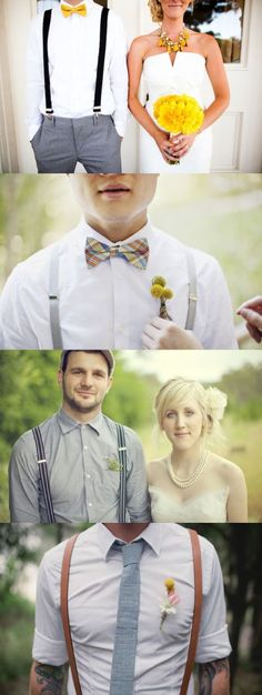 Groom in suspenders? I really like the look of the last one, with a woven tie, leather suspenders, and sleeves rolled up. Wedding Groom, Wedding Men, Wedding Suits, Wedding Attire, Wedding Styles, Dream Wedding, Hipster Wedding, Groomsmen Suspenders, Groomsmen Outfits