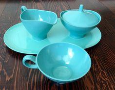 1950\u0027s Blue Melmac Boontonware Platter Sugar Bowl Creamer and Mug Melmac Dinnerware Blue Melmac Dinnerware Melmac Serving Dishes & Huge Set of Mint Green Boonton Melamine Dinnerware Vintage ...