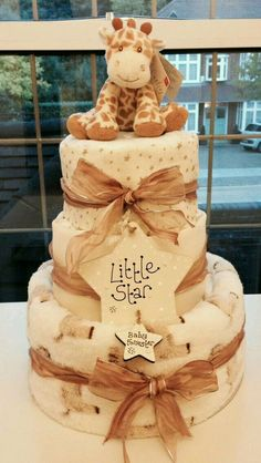 Best Ideas For Baby Shower Cake Diy Neutral Baby Shower Cakes, Baby Nappy Cakes, Regalo Baby Shower, Deco Baby Shower, Diy Diaper Cake, Baby Shower Giraffe, Baby Shower Diapers, Baby Showers, Baby Shower Gifts