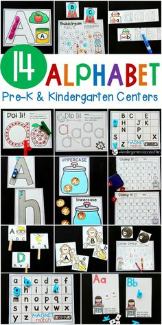 These 14 Print and Play Alphabet Centers are perfect for Pre-K and Kindergarten classrooms to explore letters! Kindergarten Centers, Preschool Letters, Learning Letters, Preschool Kindergarten, Preschool Learning, Alphabet Games For Kindergarten, Preschool Homework, Teaching, Alphabet Phonics