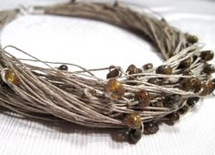 amber beads with linen cord