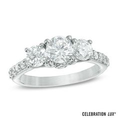Celebration Lux® 2 CT. T.W. Diamond Three Stone Ring in 14K White Gold (I/SI2) - View All Rings - Zales