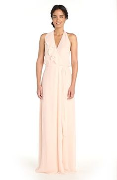 Alternate Video 6  - nouvelle AMSALE 'Erica' Ruffle Chiffon Halter Neck Wrap Gown