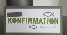 Hier seht Ihr eine Auftragsarbeit einer Einladung zur Konfirmation. Farben: anthrazitgrau, olivgrün, flüsterweiß Die Fische sind nicht ...