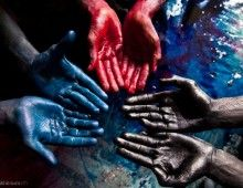 """Uttar Pradesh, India: The father (hands in black) and his sons (hands in red and blue) are held captive in a """"silk dyeing house."""" The dye they work with is toxic. It's common for entire families to be enslaved for generations. Photo Choc, Lisa, Human Trafficking, Ted Talks, Fine Art Photography, Photography Ideas, Family Portraits, Red And Blue, Red Black"""