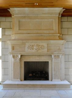 Fireplace Mantel Designs Showing Beautiful Accent : Classic Concrete Fireplace Mantel Designs With Carve Decoration Craftsman Fireplace, Shiplap Fireplace, Limestone Fireplace, Small Fireplace, Concrete Fireplace, Home Fireplace, Modern Fireplace, Fireplace Design, Fireplace Kitchen