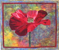 One Poppy Art Quilt Pattern by Lenore Crawford by LenoreCrawford