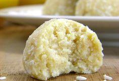 No bake Coconut Lemon Meltaways -- great for a preschool snack when allergies are involved Paleo Dessert, Gluten Free Desserts, Healthy Desserts, Raw Food Recipes, Just Desserts, Dessert Recipes, Cooking Recipes, Cooking Tips, Raw Desserts