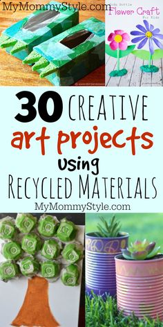 Make a fun art project with your child by reusing recycled materials. crafts for kids 30 creative art projects using recycled materials Crafts From Recycled Materials, Recycled Crafts Kids, Recycled Art Projects, Cool Art Projects, Project Ideas, Recycled Furniture, Handmade Furniture, Kids Crafts, Diy Furniture