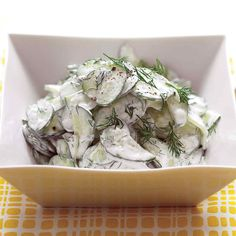 We've given this creamy cucumber salad recipe a healthy update. But it's still so good, you won't even notice! Reduced-fat sour cream (in place of full-fat) lowers the calorie count without losing taste.