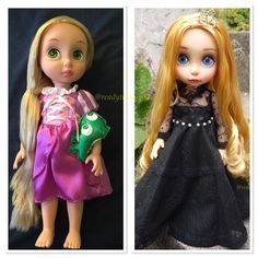 Before and after #rapunzel #rapunzelhair #rapunzeldoll #dollartist #oneofakind #disneyanimatordoll #disneydoll #ooakdolls #doll #dollrepaint #dollphotogallery #dollphotography #dollstagram #dollphoto #dollcollection #dollcollector #dollphotos #princessdoll #babyprincess #babydoll