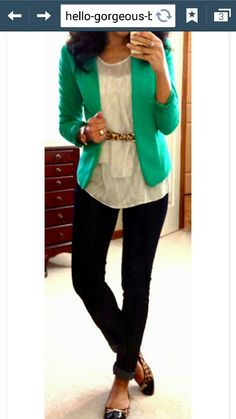The belt and shoe pattern are not me, and green might be a bit bold for work, but look is good