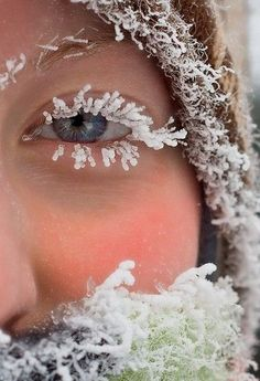 Pretty much sums up this winter ~ icelashes~ Wow! She had to be really cold & wet to have this picture taken!