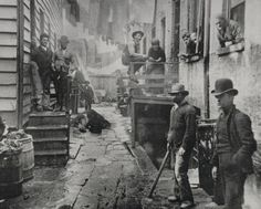 Bandits Roost, a New York City slum in the 1890s