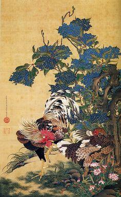 伊藤若冲 (Ito Jakuchu, 1716-1800) 紫陽花双鶏図 (Rooster and Hen with Hydrangeas)