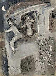 """David Saved by Michal,"" Marc Chagall, 1960. Galerie Art Chrudim.  (found via textweek art index under ""Saul"");  http://www.galerie.chrudim.cz/chagall_037_mikol_zachranuje_davida.jpg"