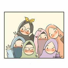 No photo description available. Friend Cartoon, Friend Anime, Anime Best Friends, Cute Cartoon Wallpapers, Cartoon Pics, Cartoon Art, Girly M Instagram, 3d Animation Wallpaper, Hijab Drawing