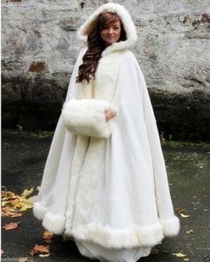 White/Ivory Bridal Cape Wedding Cloaks Hooded with Faux Fur Trim Warm Adult Winter For Winter Bridal Wraps/Capes/Poncho Christmas Cloak Winter Wedding Cape, Winter Cape, Wedding Coat, Wedding Jacket, Winter Cloak, Pre Wedding, Wedding Mantle, 2015 Winter, Winter Weddings
