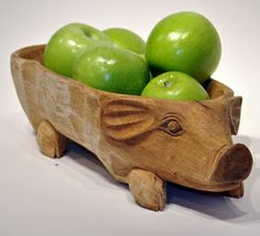 Wooden Pig Serving Bowl -hand carved