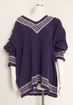 Vintage 80s Women's Oversize Preppy V Neck Sweater by SadieBess, $34.00