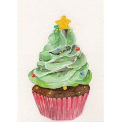 Beautiful watercolor from a new Etsy shop.  (Makes me really want a cupcake!)  Original watercolor Christmas Tree Cupcake Christmas by MilkFoam, $10.00