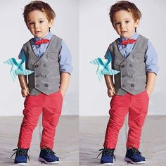 Kids Boys Tuxedo Party Wedding Formal Suit Vest Shirt Pants Outfits Sets US Toddler Boy Fashion, Little Boy Fashion, Toddler Boy Outfits, Outfits Niños, Kids Outfits, Boys Waistcoat, Baby Boy Bow Tie, Boys Tuxedo, Kids Boys