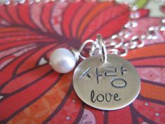 Hand Stamped LOVE / Sarang In Korean Hangul And English Script With White Pearl. $65.00, via Etsy.