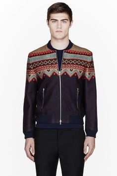CARVEN Purple & Beige Winter Print Bomber Jacket