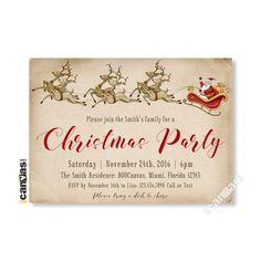 Santa Claus Invitation, Christmas Invitations, Christmas Party Invitations, Holiday Party Invitation, Shabby Chic Festive, Santa Reindeer 74 by 800Canvas on Etsy