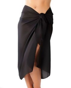 Womens Swimwear Pareo Tulle Sheer Pareu Chiffon Boho Sarong Skirt Beach Cover Up