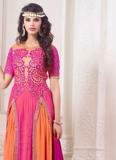 Ethnic Pink & Orange Coloured semi-stitched #Buy-unstitch-Designer-Salwar-kameez-online