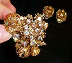 1276~Vtg Sign DeMario Goldtone Rhinestone Sead Pearl Brooch Clip Earring Demi** #DeMarioNY