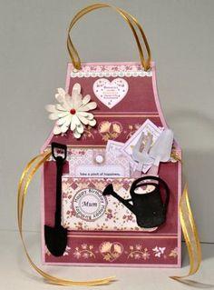 GARDENING APRON LADIES Tent Card Mini Kit on Craftsuprint designed by Janet Briggs - made by Kristina Norbat -