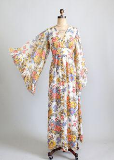 Vintage 1960s Bell Sleeve Floral Festival Maxi Dress