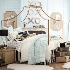 Another  room for our 3rd @emilyandmeritt for @pbteen collection! Available for preorder now! Can we talk about black and white leopard dot sheets and gold xoxoxo