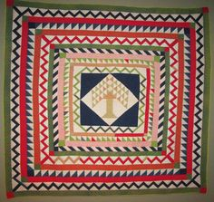 """Pine Tree Medallion quilt (Alabama) circa 1900.  In the 2014 """"First Glance;Second Look"""" exhibition at the Denver Art Museum. Photo by Jean Carlton 