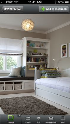 Storage ideas for boys room  I like this because it makes a small room not seem so bad