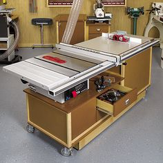 Mobile Sawing and Routing Center Woodworking Plan – Increase the capacity of your tablesaw and router by combining them in one accommodating twin-cabinet design. The advantages include a larger tabletop, ample onboard accessory storage, and dedicated dust containment.  This compact, wheeled work center provides all kinds of room for router bits, saw blades, miter gauges, wrenches, and other accessories. http://www.woodstore.net/mosaroce.html