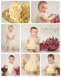 Simple Cake Smash | Atlanta Baby Photographer; Sweet baby girl first birthday cake smash photo session - simple and minimal.