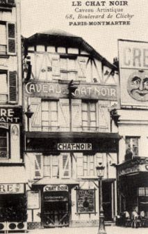 Le chat Noir Paris in the bohemian Montmartre district of Paris a 19th-century cabaret, opened on 18 November 1881 at 84 Boulevard Rochechouart by the impresario Rodolphe Salis, and closed in 1897 not long after Salis' death.