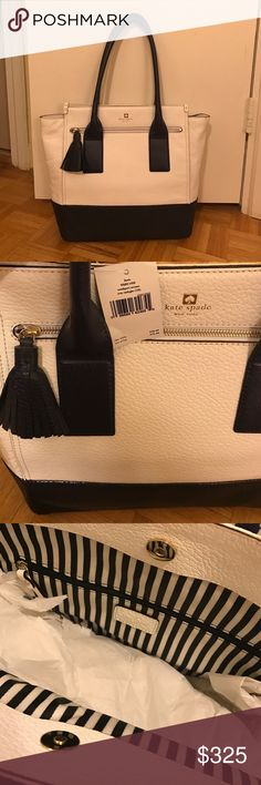 Kate Spade Leather Navy & White Purse NWT Leather purse new with tags. Stored in well manner.  Great for summer season. Blue and white stripes cloth inside. Inside has zipper pouch and 2 open pouches. kate spade Bags Shoulder Bags