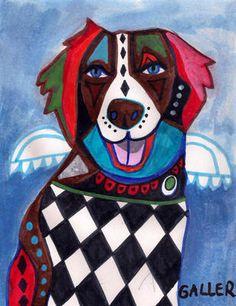 Brittany Spaniel Art Angel Dog Modern Pop Poster Painting Print Heather Galler