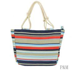 New Navy Blue & White Stripes Canvas Shopper/Tote Beach Bag | eBay ...