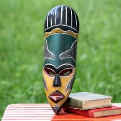Novica Handcrafted Sese Wood 'Our Traditions' African Wall Mask (Ghana) (Solid), Black African Wood Carvings, Oil On Canvas, Canvas Art, Mask Images, Adinkra Symbols, Mask Painting, Arte Tribal, Africa Art, Masks Art