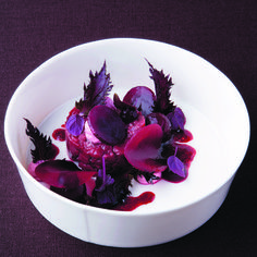 Beef tartar with coffee oil, beetroot and shiso | FOUR Magazine #grandits